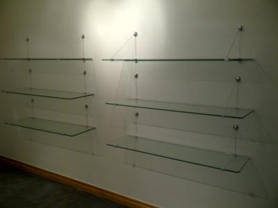 Glass shelves with cable supports